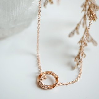 Wavy circle sterling silver necklace Pink Gold plated