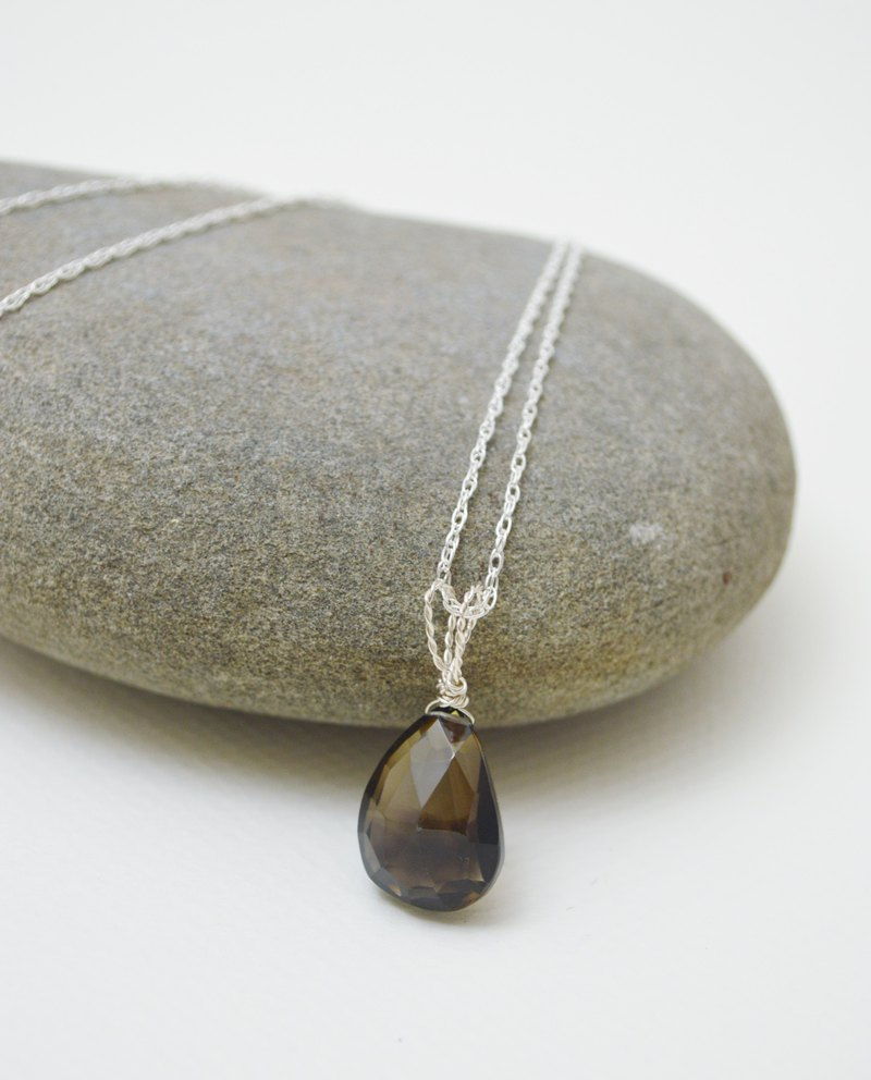 Untitled- Pear Faceted Smoky Citrine Quartz Pendant‧Silver Rope chain necklace