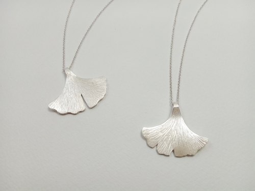 Ginkgo biloba sterling silver necklace handmade Dai Le Studio d'EL / by the service life of metalworking
