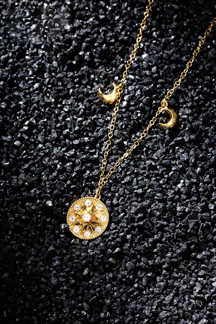 Sun God Compass Moon Necklace