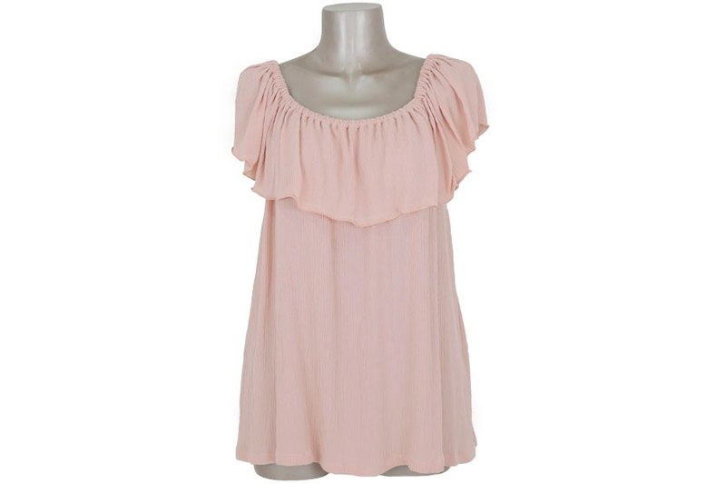 2017 Spring Summer! Off shoulder ruffle tops <Peach>
