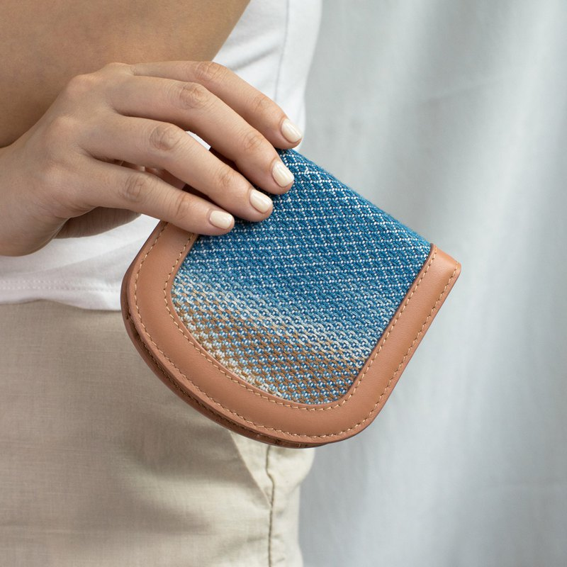 """Arch"" slim leather/ handwoven fabric wallet *SPECIAL EDITION*"