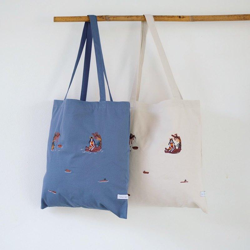 棉質刺繡購物托特包 白/藍/綠/海軍藍/黑色