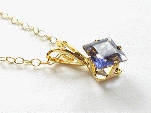 Square Purple-Blue Iolite necklace