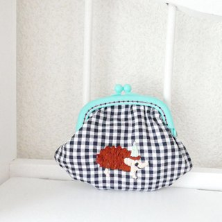 Embroidery Hamaguri Gingham Check Hedgehog Mint Hat