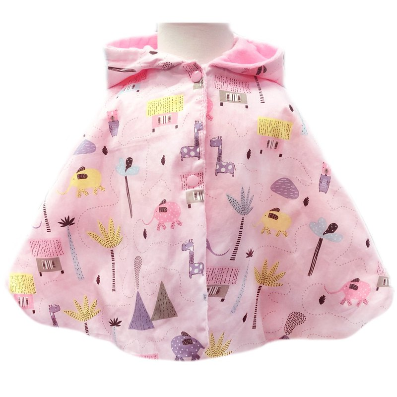 Minky dot print double hooded cloak can be worn on both sides of the pink jungle