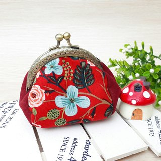 [QQ mouth gold bag] red floral
