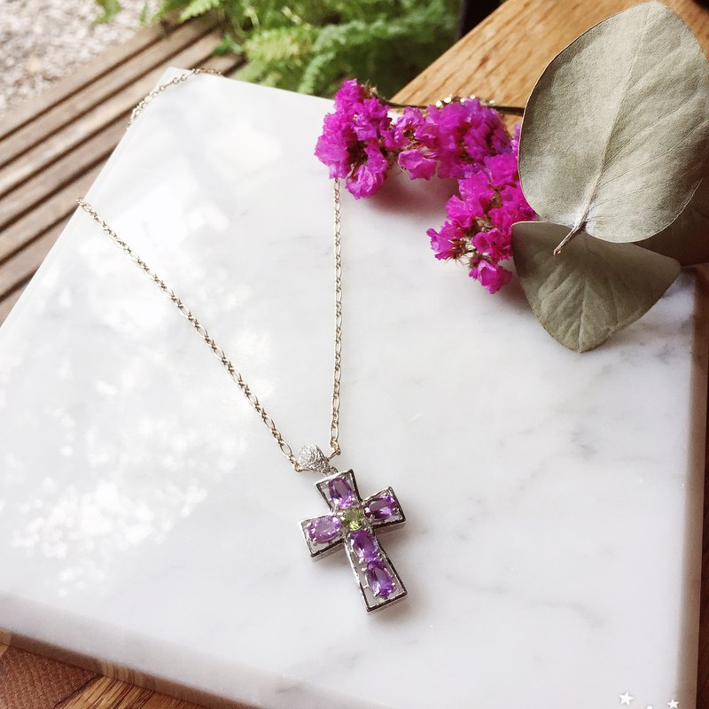 *NINA SHIH JEWELRY*Sterling Silver Cross Jewel Necklace (Amethyst)