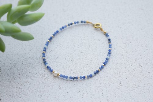 Blue Stone Brass Bracelet 1115 - Relief