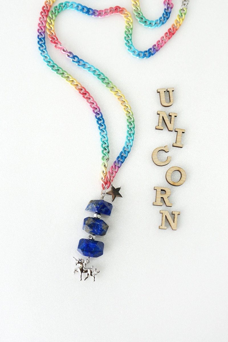 Unicorn Charm with Blue Lapis Lazuli Stone on Rainbow Color Chain Necklace