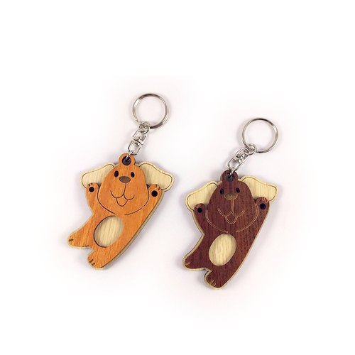 Wood Carving Key Ring - Lazy Dog