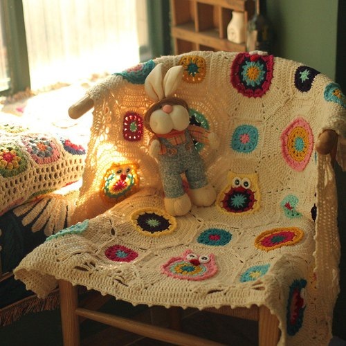 Hand hook flower Nordic style retro Sen decorative leisure blanket sofa blanket # owl wool blanket