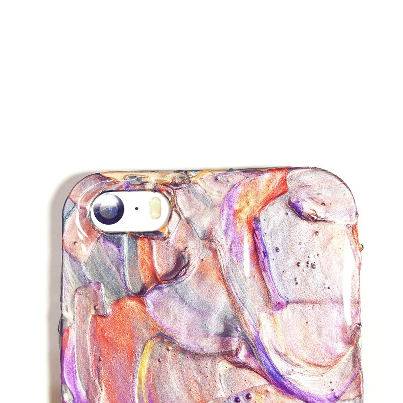 Experimental series ll a touch of purple gray ll hand-painted oil painting phone case