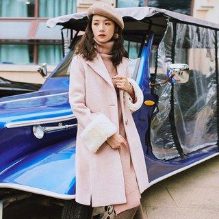 2018 women's winter wear front slit A type long coat