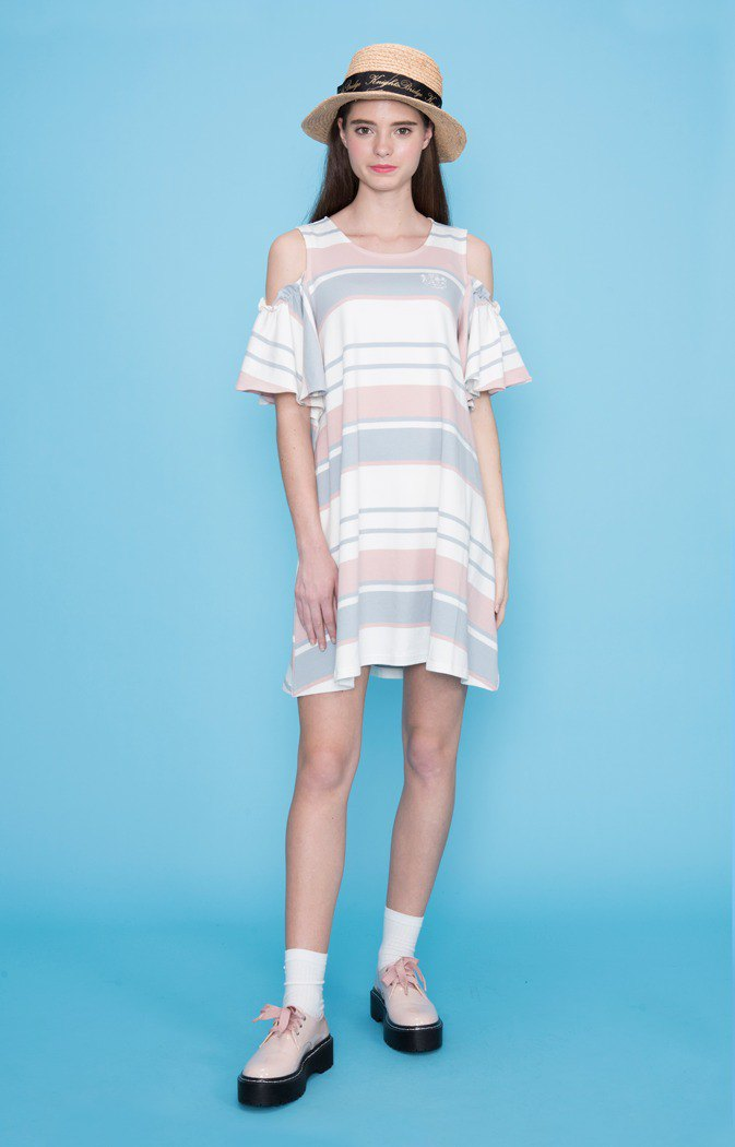 Color strip shoulder dress 823F750