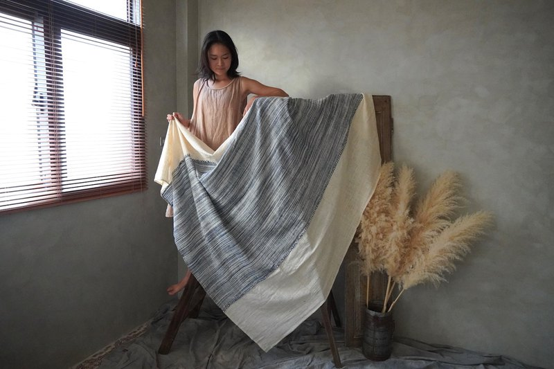 Blue rain / / hand woven hand-woven. Cotton plant dyed / / classic hand-woven cloth skin-friendly blanket