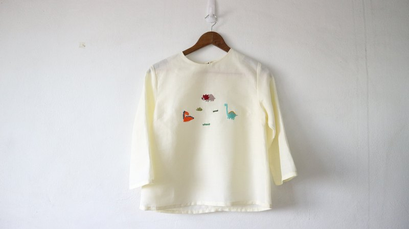 Dinosaur Basic top with hand embroidery- only one piece
