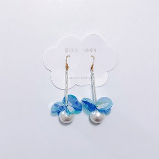 Daydaughter scattered flowers - blue sequins hanging handmade earrings ear hook / ear clip