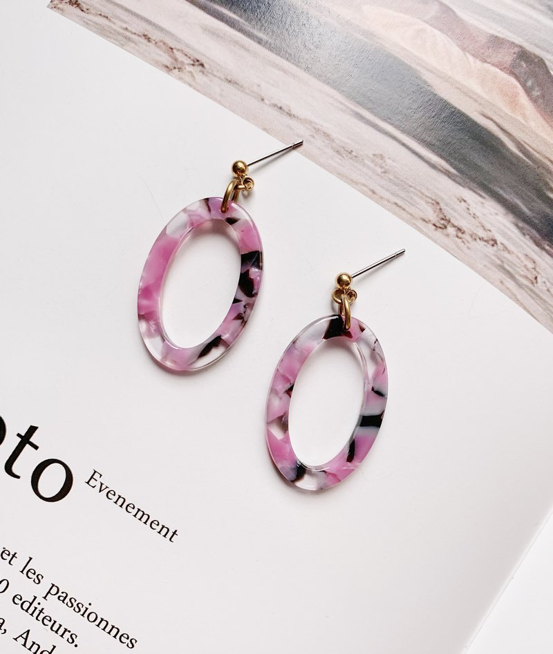 La Don-Drop Earrings-Stone Oval Basket Oval-Pink Black Ear Pins / Ear Clips Available