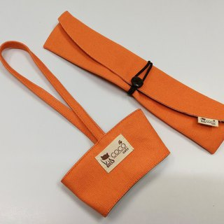Environmental protection chopsticks bag cup set ~ portable beverage cup bag. Lunch set storage bag chopsticks sets (orange plain canvas)