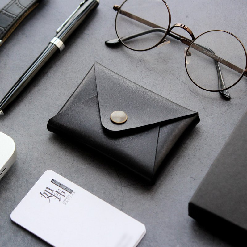 Black large-capacity leather business card holder business card holder card holder card holder small wallet purse purse