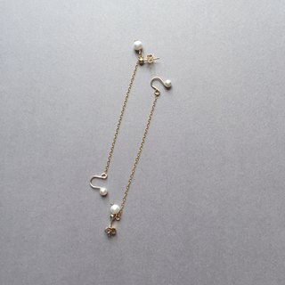 path / pearl ear cuff earrings