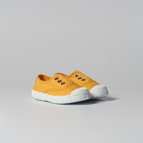 Spanish nationals canvas shoes CIENTA children's shoes size mustard yellow fragrant shoes 70997 64