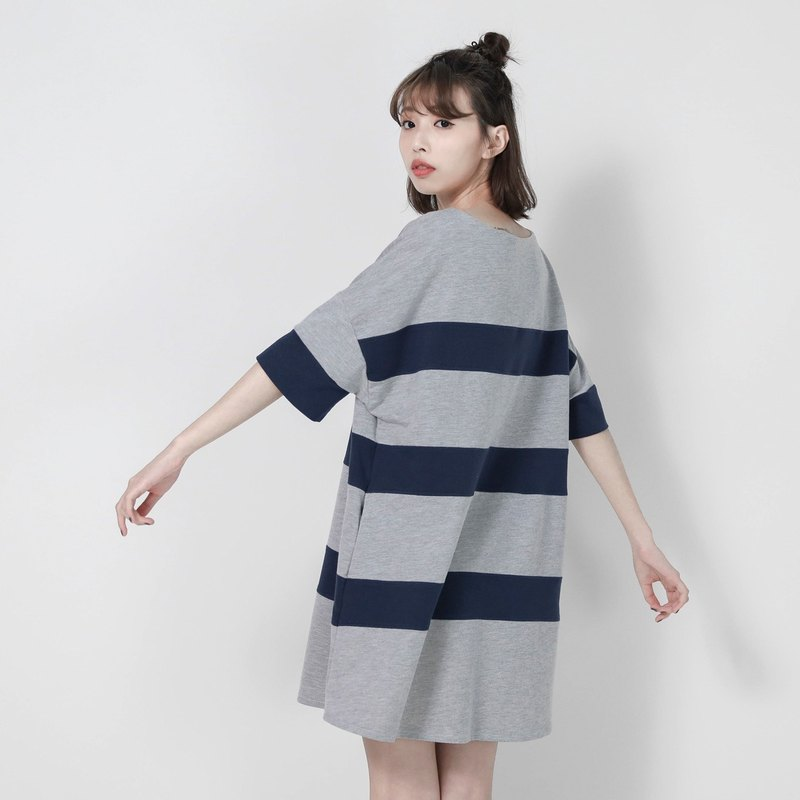 SU: MI said Element element stripes loose jacket dress _7SF001_ gray blue