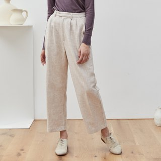 Oatmeal color 3 color autumn and winter cover meat burning pants wool material straight suit pants wide leg wide pants nine points pants