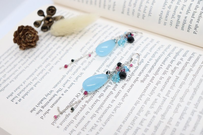 Blue Teardrop Natural Stones Multi Coloured Cluster 925 Silver Hook Earrings