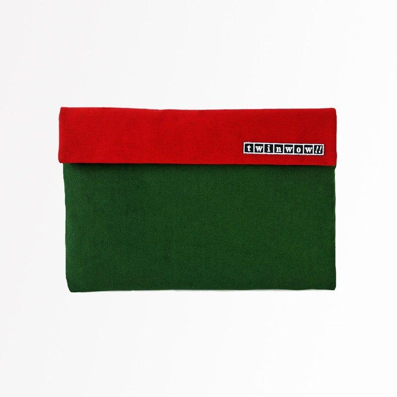 時尚筆記 - 細緻質感平板包 - 冷杉綠紅