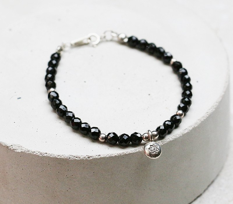 <Love of the Milky Way - Xingmang> Sliced ​​black agate 925 sterling silver bracelet silver custom Valentine's Day