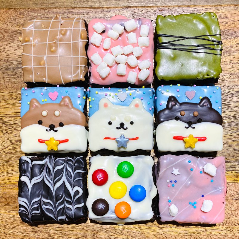 Spring limited honey black tea tricolor Shiba Inu brownie gift box 6 into 9 into 15