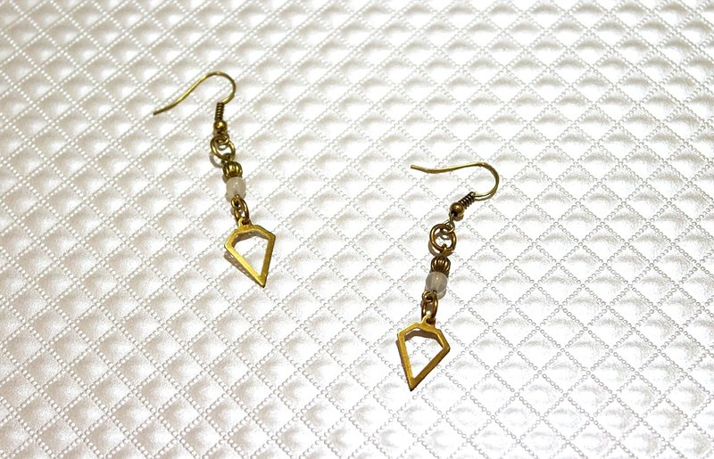 Brass X natural stone * clouds * - hooked earrings