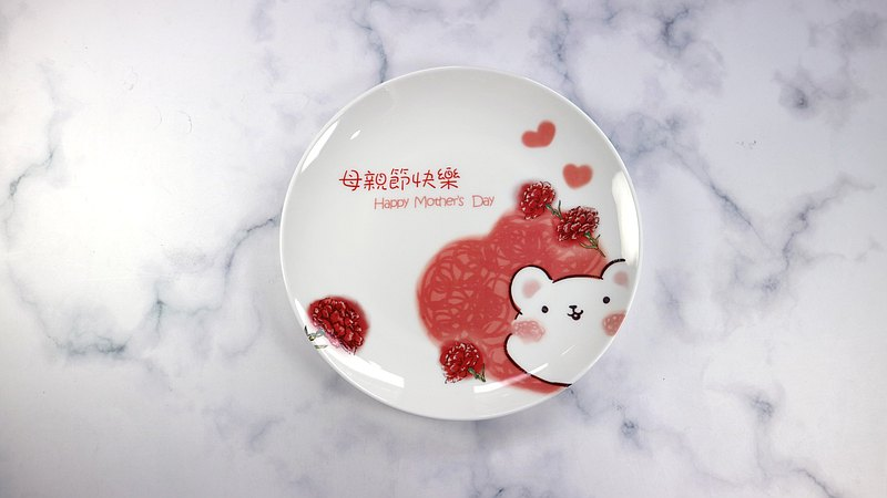 Customized-special mouse for your carnation bone china plate mother's day gift customized bone china