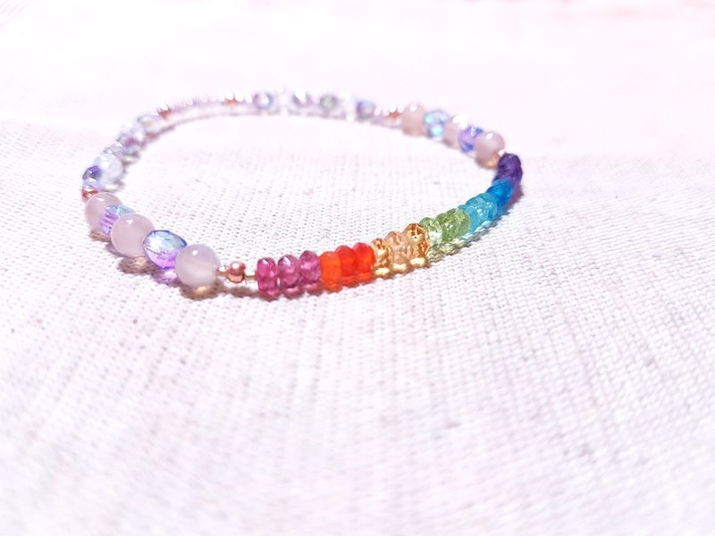 Colorful crystal x orange moonstone x blue halo moonstone - a delicate rainbow of light