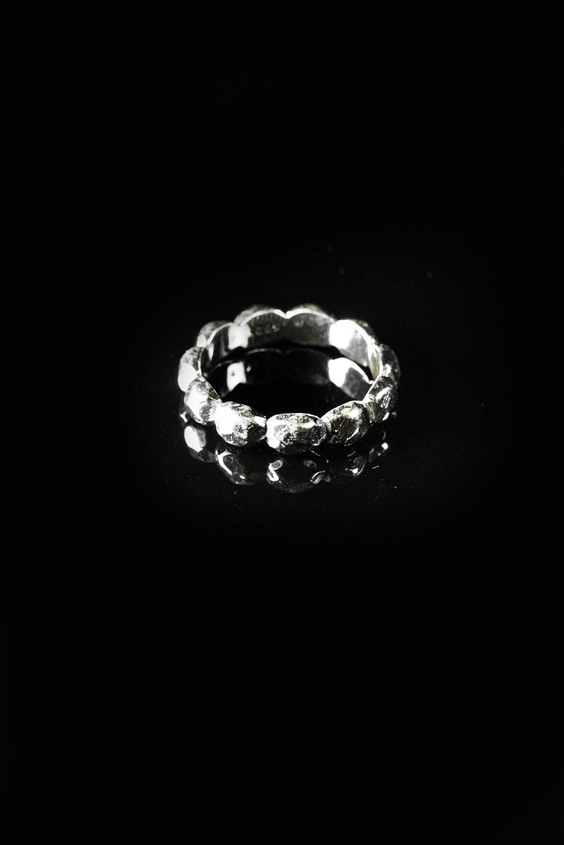 RIN016 / Sterling Silver / Personalized Rock Melt Ring / # 美 围 6,7