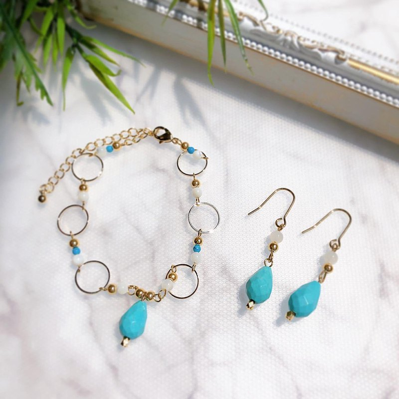 Natural stone turquoise and mother-op pearl bracelet and earrings earrings present set