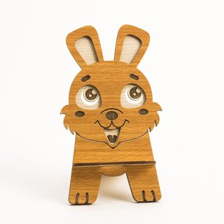 Wooden Formula (Customized - Color Patterns can be replaced) Wooden Phone Holder - 12 Zodiac (Bunny) Mobile Phone Holder / Ornament / Business Card Holder / Gift / Premium / Mobile Phone Accessories / Stationery