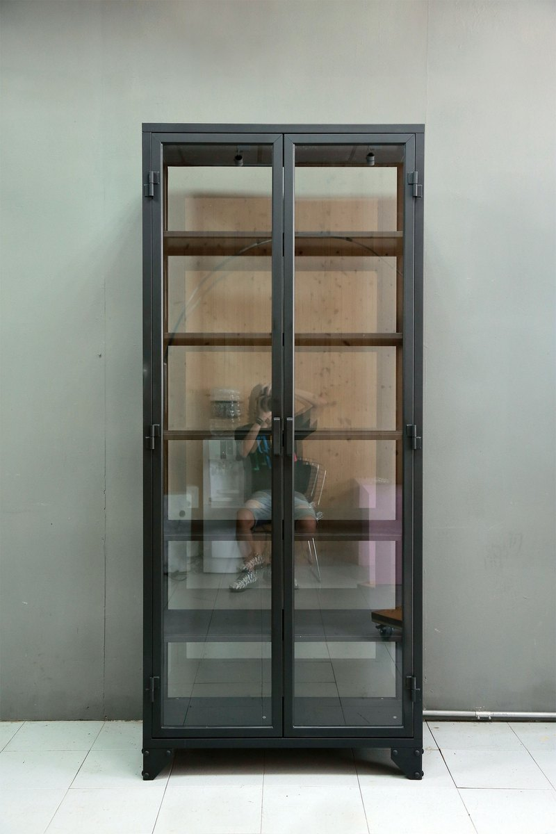 Industrial style _ glass storage iron cabinet / display cabinet / showcase / commercial space**accept customized**