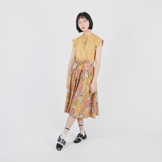 [Egg Plant Vintage] Tropical Orchard Printed Cotton Vintage Dress