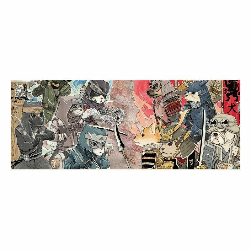 日本面料,帆布,印有 7 只武士犬,忍者貓,無邊框。