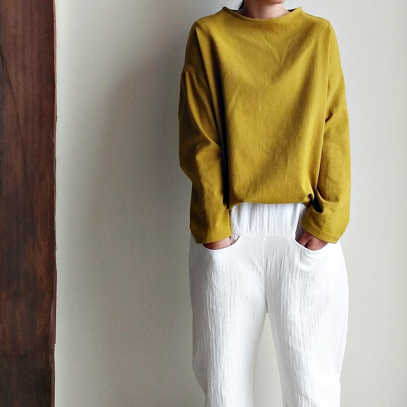 Boat collar shoulder coat mustard yellow blend