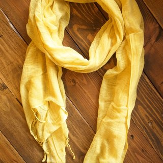 【Grooving the beats】[ Fair Trade] Organic Cotton, Hand woven, Natual Dye Shawl / Scarf(Yellow)