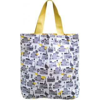 Paris small walk light double-sided tote bag All over Paris / Chic Chick Ocre
