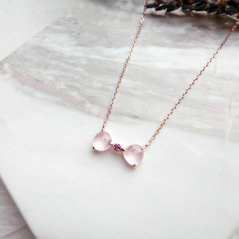 Pink crystal 925 sterling silver plated rose gold and bow design necklace