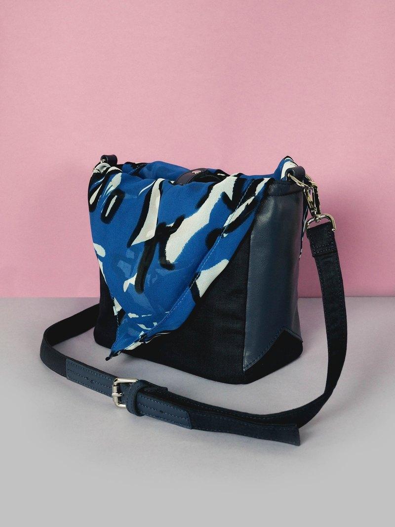 eaa6b93ad047 Navy shoulder bag - Tie it bag (Choose Pink or Blue pattern) - Designer  Kodangs