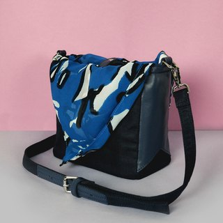 Navy shoulder bag - Tie it bag (Choose Pink or Blue pattern)