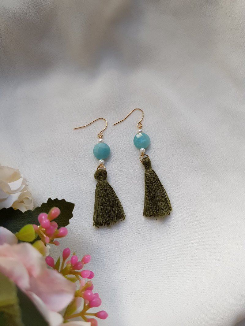 Mint Candy-Tianhe Stone-Natural Stone Earrings / Brass Ear Hook Ear Clip