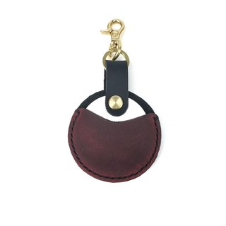 【Black】 retro style gogoro key leather couples couple splicing hit color series black wine red custom color pure copper buckle